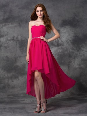 A-line/Princess Sweetheart Beading Sleeveless Asymmetrical Chiffon Dresses