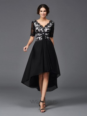 A-Line/Princess V-neck 1/2 Sleeves Lace Asymmetrical Chiffon Dresses