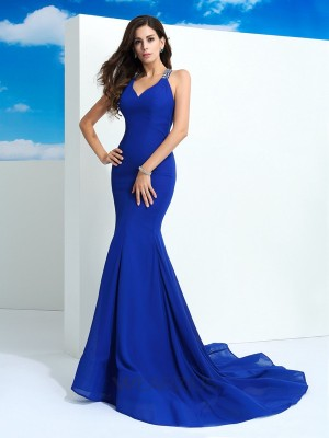 Sheath/Column Straps Sleeveless Court Train Chiffon Beading Dresses