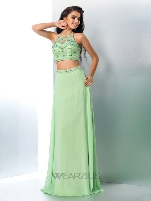 A-Line/Princess Sleeveless Beading Chiffon Floor-Length Halter Two Piece Dresses
