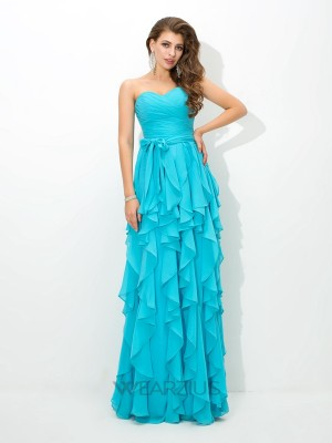 A-line/Princess Sweetheart Sleeveless Layers Floor-Length Chiffon Bridesmaid Dresses