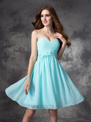 Princess Sweetheart Sleeveless Ruffles Chiffon Short/Mini Bridesmaid Dresses