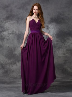 Princess Sweetheart Chiffon Sleeveless Ruched Floor-length Bridesmaid Dresses