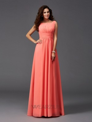 A-Line/Princess Scoop Chiffon Sleeveless Ruffles Sweep/Brush Train Bridesmaid Dresses