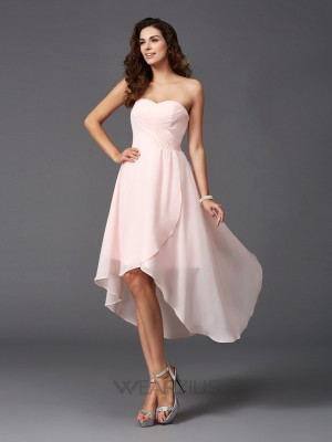 A-Line/Princess Sweetheart Sleeveless Ruffles Asymmetrical Chiffon Bridesmaid Dresses
