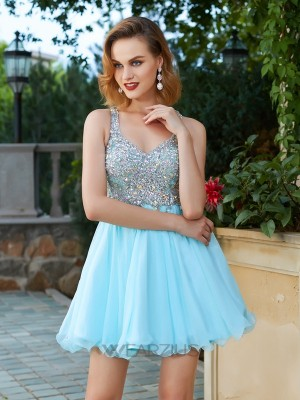 A-Line/Princess Sleeveless Chiffon Straps Rhinestone Short/Mini Dresses
