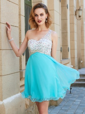 A-line/Princess One-Shoulder Sleeveless Beading Chiffon Short/Mini Dresses