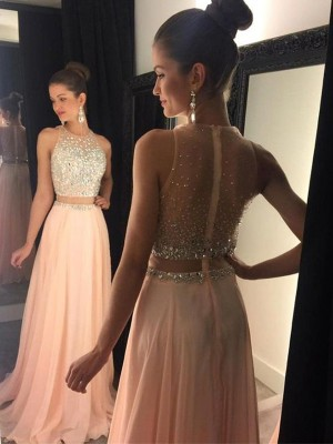 A-Line/Princess Scoop Sleeveless Sweep/Brush Train Chiffon Beading Dresses