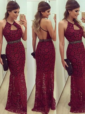 Sheath/Column Sleeveless Floor-Length Halter Lace Beading Dresses
