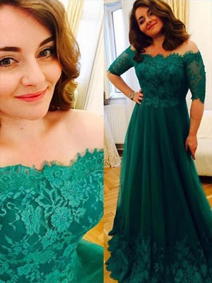A-Line Off-the-Shoulder Short Sleeves Tulle Applique Floor-Length Plus Size Dresses