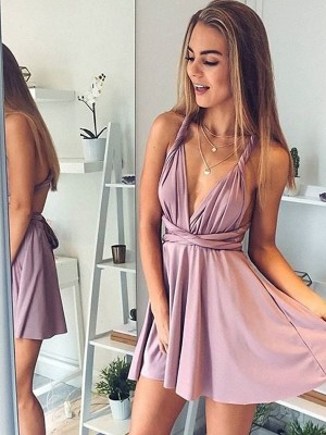A-Line/Princess V-neck Sleeveless Short/Mini Satin Graduation Dresses