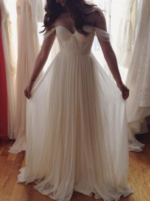 A-Line Off-the-Shoulder Sleeveless Floor-Length Chiffon Beading Dresses