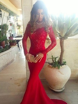 Mermaid Off-the-Shoulder Long Sleeves Lace Sweep/Brush Train Satin Dresses