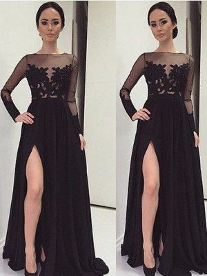 A-Line/Princess Bateau Long Sleeves Floor-Length Lace Chiffon Dresses