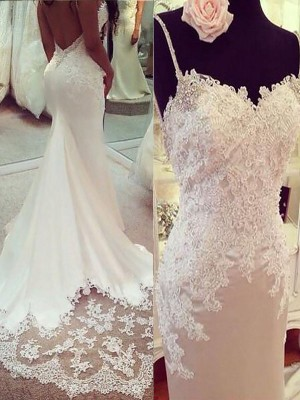 Mermaid Sleeveless Applique Satin Spaghetti Straps Court Train Wedding Dress