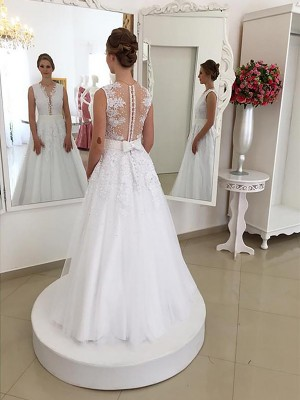 Trumpet/Mermaid Sleeveless Scoop Lace Floor-Length Wedding Dresses