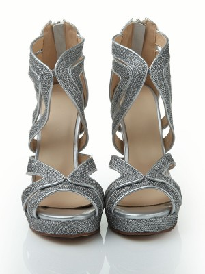 Women's Stiletto Heel Peep Toe Elastic Leather Platform With Sequin Sandal Shoes