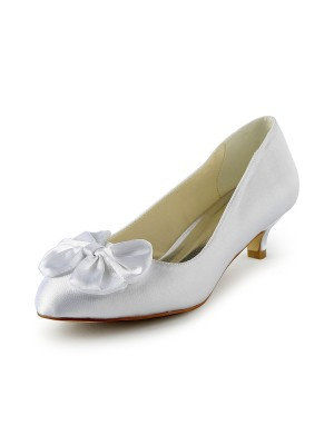 Women's Satin Kitten Heel Pumps With Bowknot Wedding Shoes