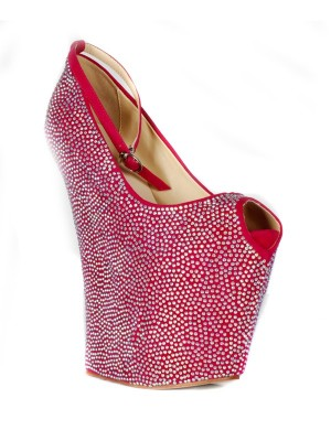 Women's Flock  Wedge Heel Peep Toe Platform With Rhinestone Shoes