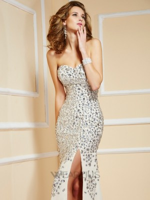 Sweetheart Sheath/Column Chiffon Sweep/Brush Train Sleeveless Beading Dresses