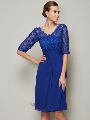Sheath/Column V-neck Lace Chiffon 1/2 Sleeves Knee-Length Mother of the Bride Dresses