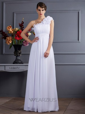 A-Line One-Shoulder Sleeveless Pleats Chiffon Applique Floor-Length Dresses