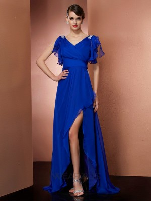 Sheath/Column V-neck Sleeveless Beading Chiffon Asymmetrical Dresses