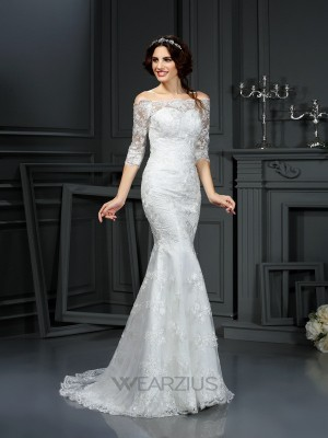Sheath Off-the-Shoulder 1/2 Sleeves Sweep/Brush Train Lace Wedding Dresses
