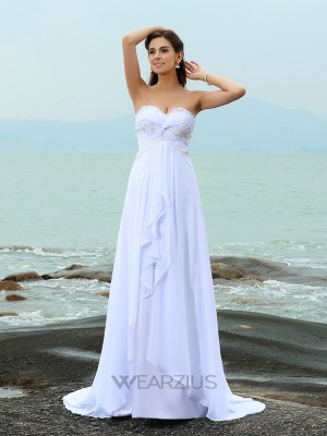 Princess Sweetheart Sleeveless Sweep/Brush Train Beading Chiffon Wedding Dresses