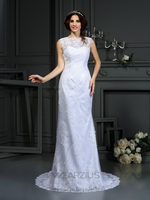 Sheath/Column Sleeveless High Neck Court Train Lace Wedding Dresses