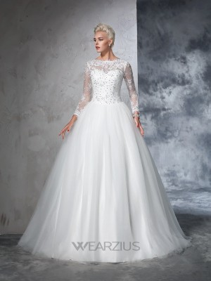 Ball Gown Bateau Long Sleeves Net Lace Sweep/Brush Train Wedding Dresses