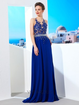 A-Line/Princess Sheer Neck Sleeveless Sweep/Brush Chiffon Applique Train Dresses