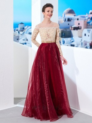 A-Line/Princess Sheer Neck Floor-Length Long Sleeves Organza Applique Dresses