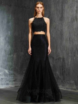 Trumpet/Mermaid Spaghetti Straps Sleeveless Applique Net Floor-Length Two Piece Dresses