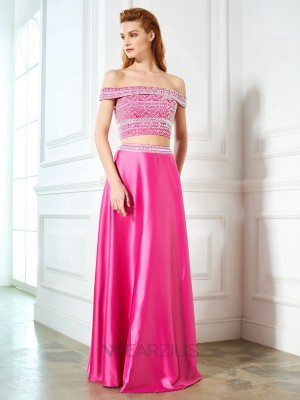 A-Line/Princess Off-the-Shoulder Floor-Length Sleeveless Satin Beading Two Piece Dresses