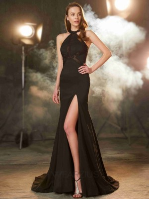 Sheath/Column Jewel Sleeveless Sweep/Brush Train Elastic Woven Satin Beading Dresses