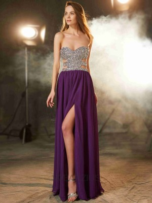 A-Line/Princess Crystal Sweetheart Floor-Length Sleeveless Chiffon Dresses