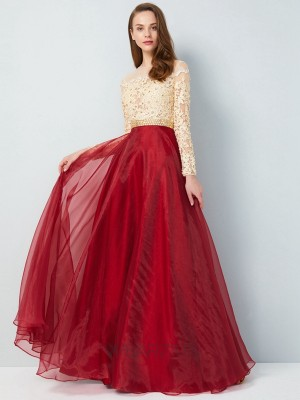 A-Line/Princess Sheer Neck Long Sleeves Floor-Length Organza Applique Dresses