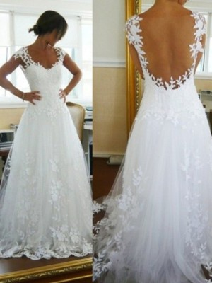 A-Line Sleeveless V-neck Sweep/Brush Train Lace Tulle Wedding Dress