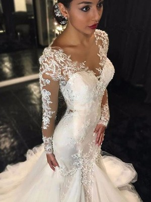 Trumpet/Mermaid V-neck Lace Long Sleeves Court Train Tulle Wedding Dress