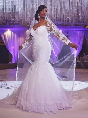 Mermaid Sweetheart Long Sleeves Sweep/Brush Train Tulle Applique Wedding Dress