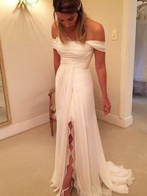 A-Line/Princess Off-the-Shoulder Chiffon Sweep/Brush Train Sleeveless Ruffles Wedding Dress