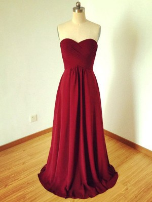 A-Line/Princess Sleeveless Sweetheart Chiffon Floor-Length Bridesmaid Dresses