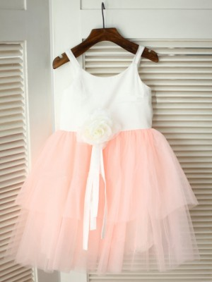 A-line/Princess Hand-made Flower Spaghetti Straps Sleeveless Tulle Tea-Length Flower Girl Dresses