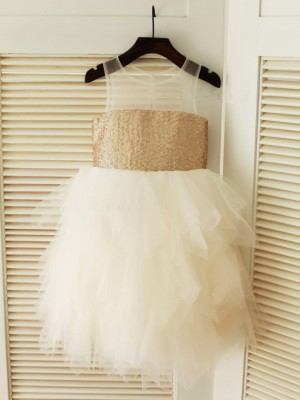 Ball Gown Scoop Sleeveless Ruffles Tea-Length Tulle Dresses