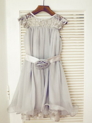 A-line/Princess Sleeveless Scoop Tea-Length Lace Chiffon Dresses