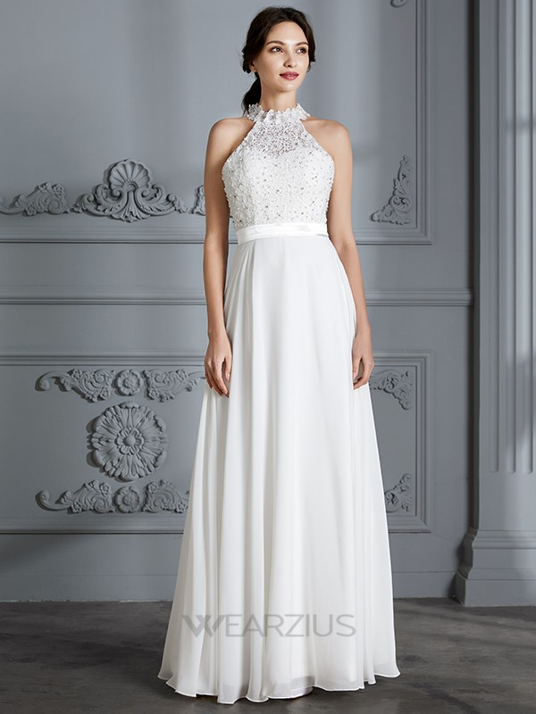 A-Line/Princess Scoop Sleeveless Chiffon Floor-Length Wedding Dresses