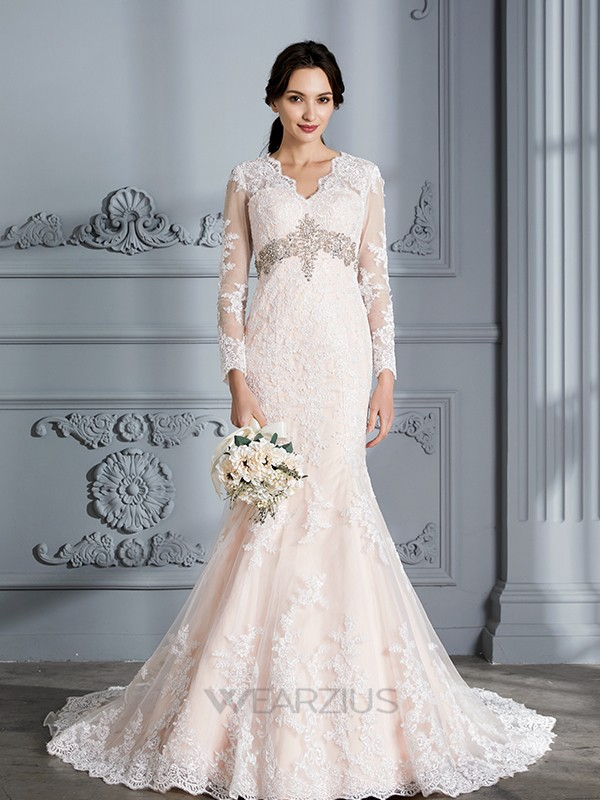 Mermaid V-Neck Long Sleeves Sweep/Brush Train Organza Beading Wedding Dresses