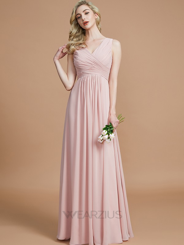 A-Line/Princess V-neck Floor-Length Chiffon Sleeveless Ruched Bridesmaid Dresses