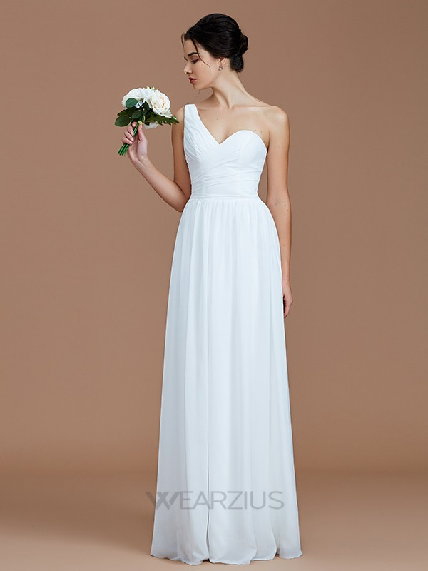 A-Line/Princess One-Shoulder Chiffon Sleeveless Ruched Floor-Length Bridesmaid Dresses